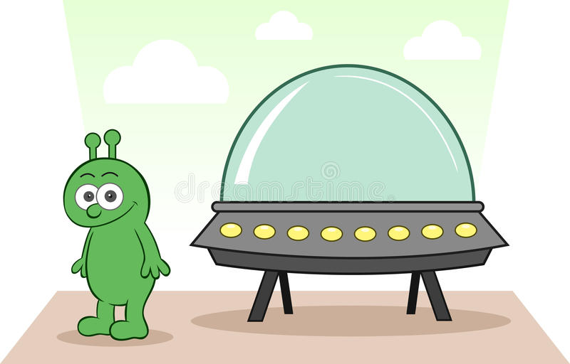 Alien Smiling With Spaceship Royalty Free Stock Photography