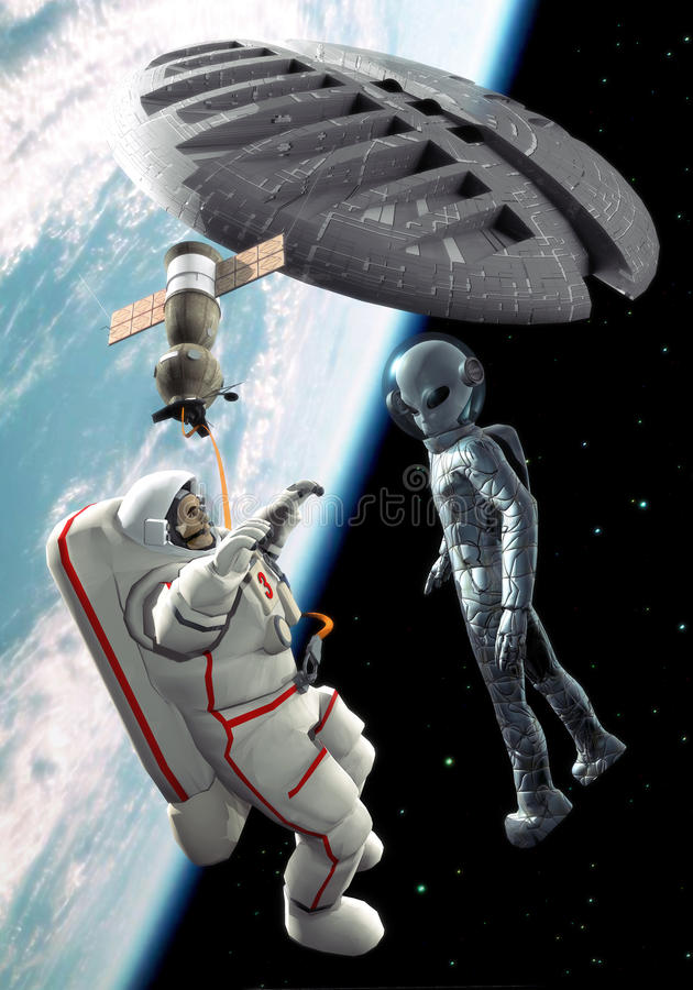 Alien space encounter stock illustration