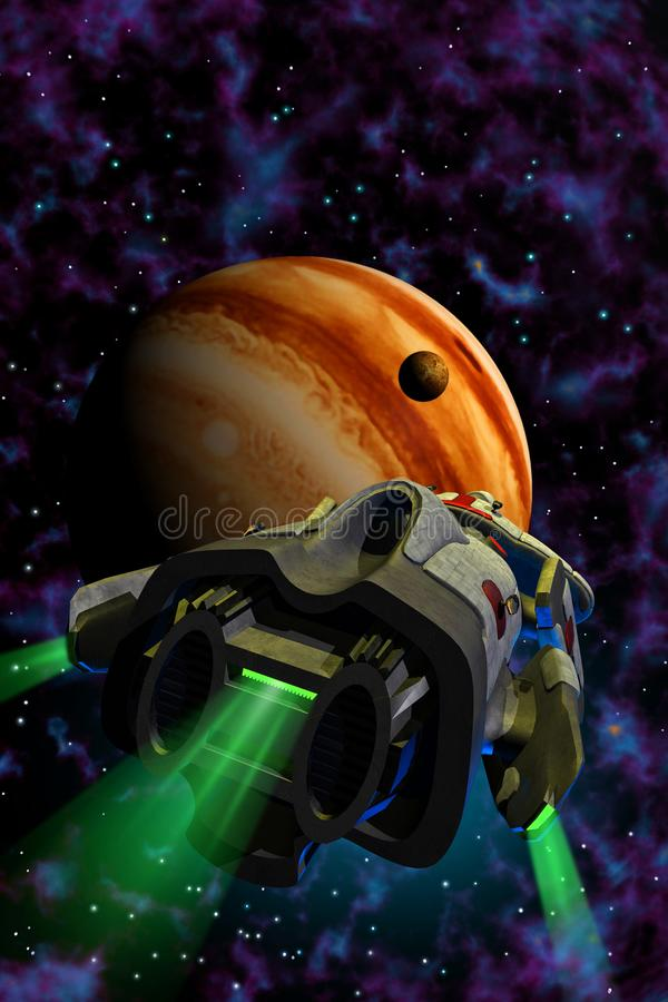 Alien spaceship flying around planet jupiter with green lights exploring the space, 3d illustration. An alien spaceship flying around planet jupiter with green vector illustration