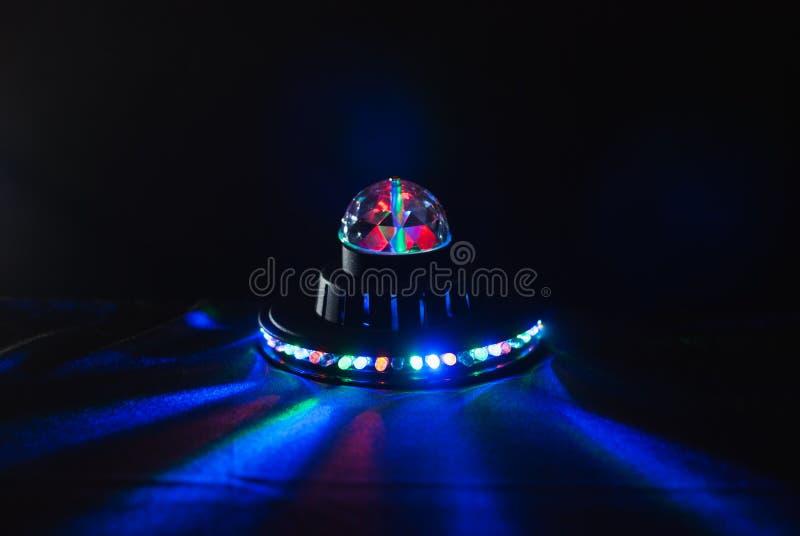Alien spaceship , glow UFO, children`s lamp,. Bright light stock image