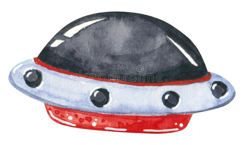 Alien spaceship, red, black and grey, hand drawn watercolor illustration stock photo