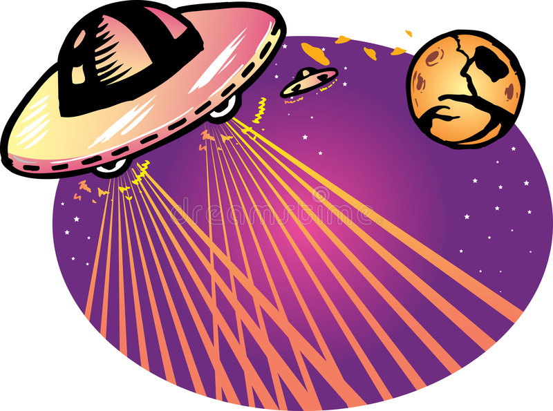 Alien spaceship vector illustration background royalty free stock images