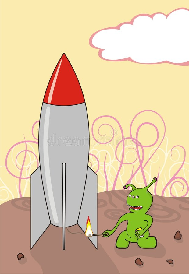 Download The Alien Starts A Spaceship Stock Vector - Illustration of start, firing: 9085329