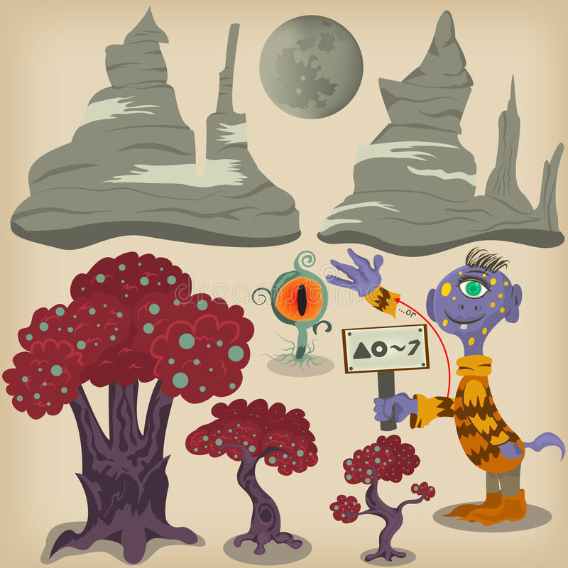 Alien surface elements royalty free illustration