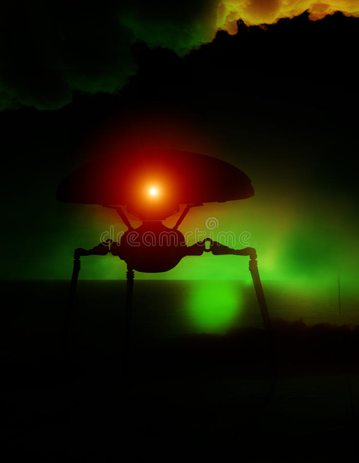 Download Alien Tripod Against Abstract Clouds Stock Photography - Image: 10953412