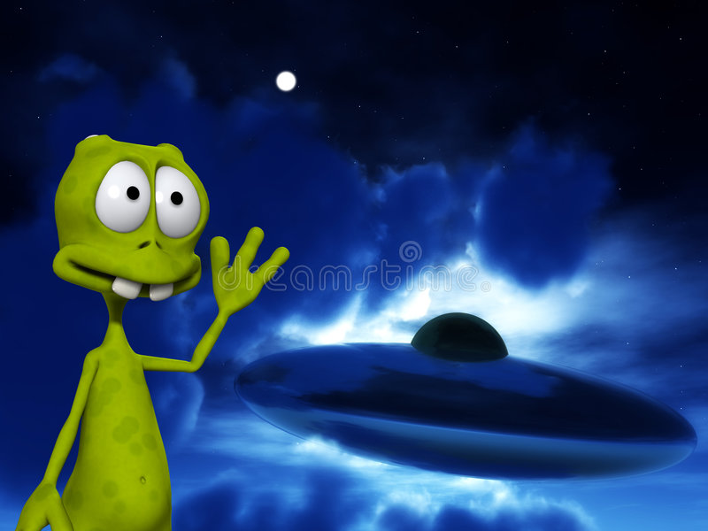 Download Alien With UFO 2 stock illustration. Image of ascend, mouth - 3474351