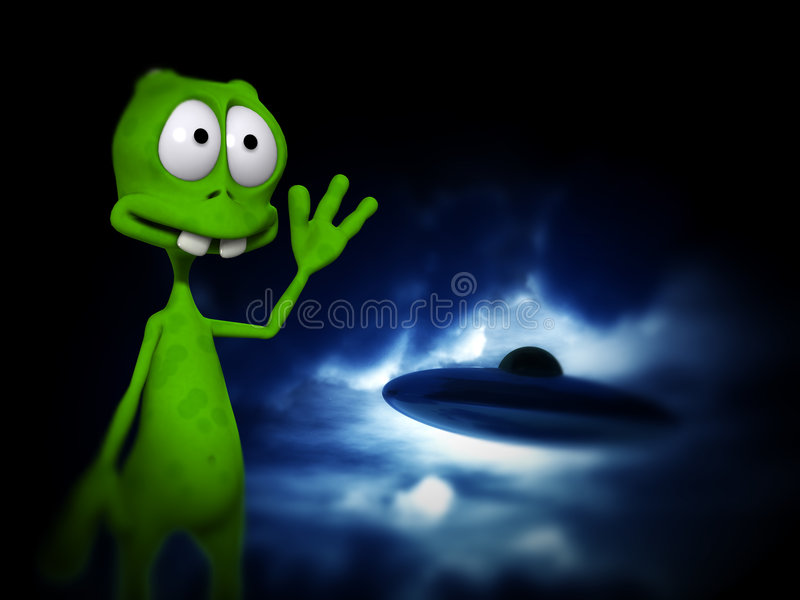 Download Alien With UFO stock illustration. Image of ascend, color - 3474346