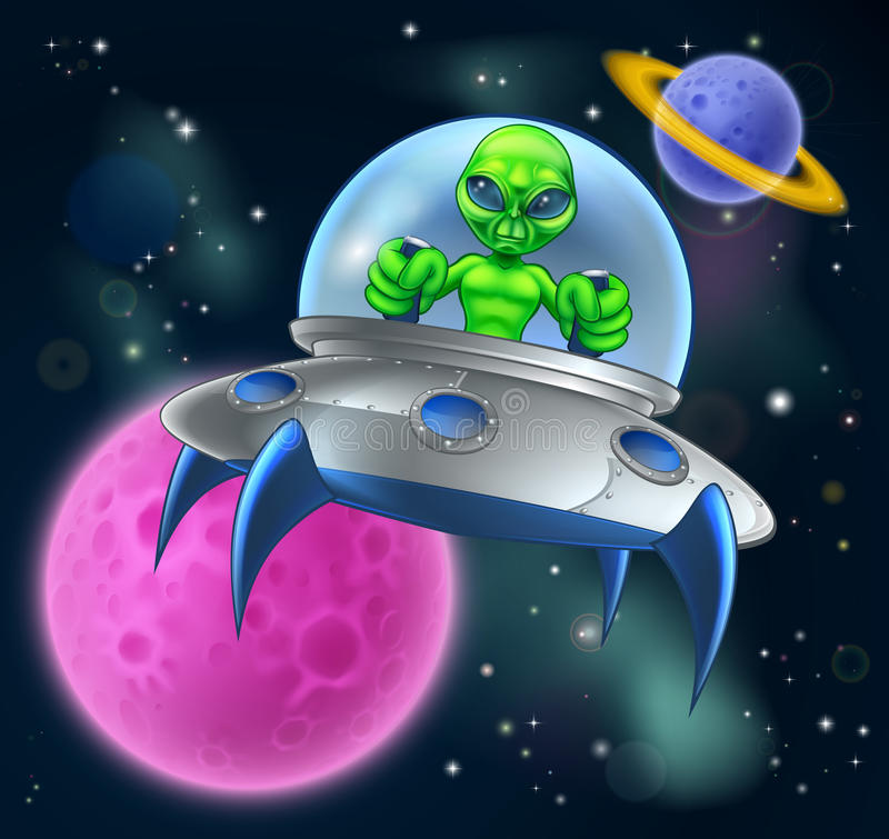 Alien UFO Flying Saucer in Space stock illustration