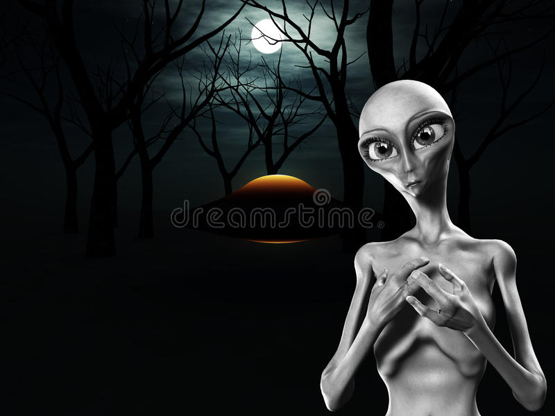 Download Alien And UFO In Forest stock illustration. Illustration of lifeform - 14401876