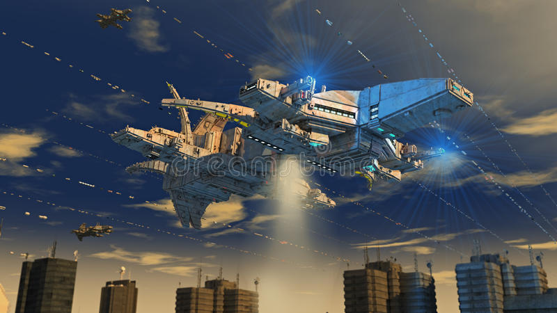 Alien UFO ship. Design and city royalty free stock photos