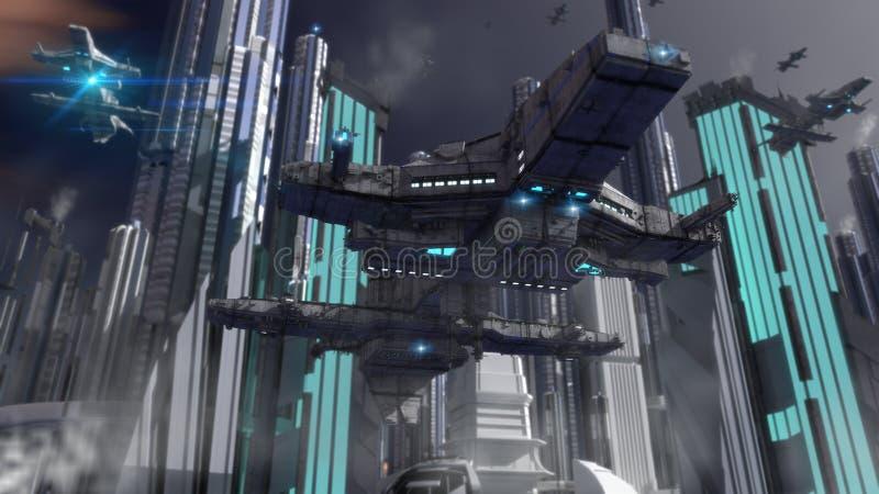 Alien UFO ship. Design and futuristic city stock photography