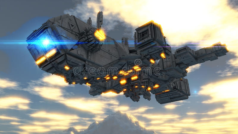 Alien UFO ship. Design and sky stock photography