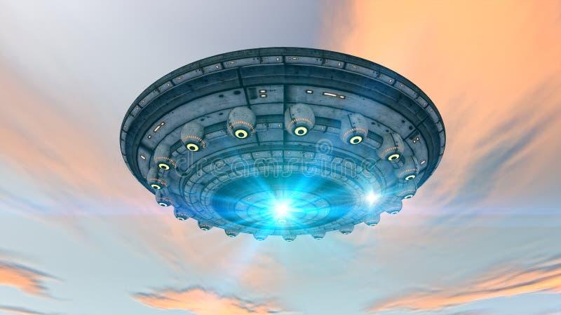 Alien UFO ship. Design and sky royalty free stock photos