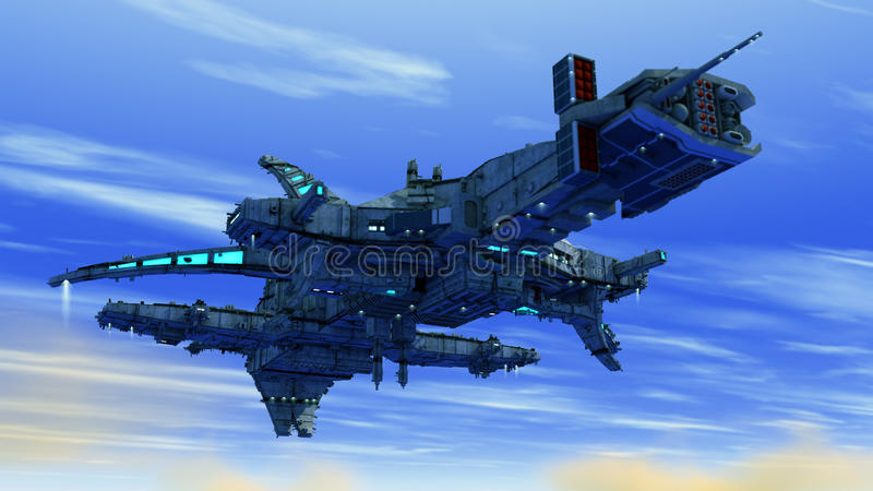 Alien UFO ship. Design and sky stock photo