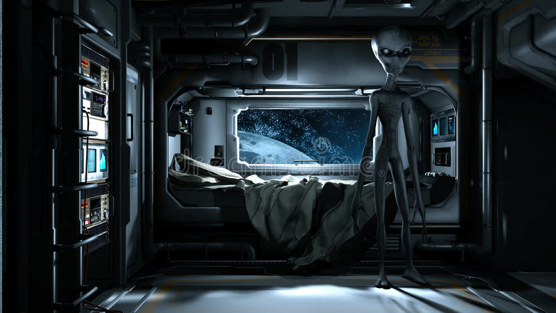 Alien visit stock illustration