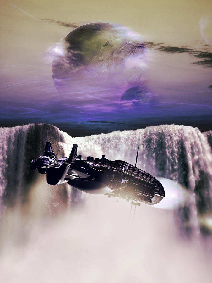 Alien waterfall. Imaginary alien landscape, where a mother spaceship flies close to a gigantic waterfall stock illustration