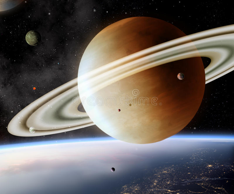 Planets. Illustration of alien worlds planets and moons stock illustration