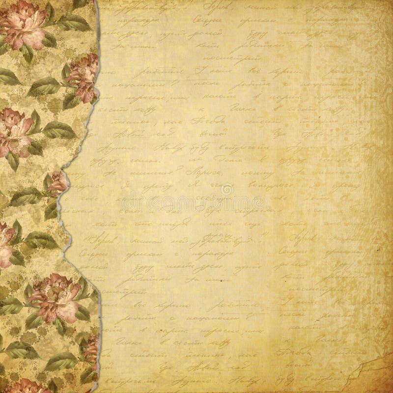 Alienerat album för foto med målade rosor stock illustrationer