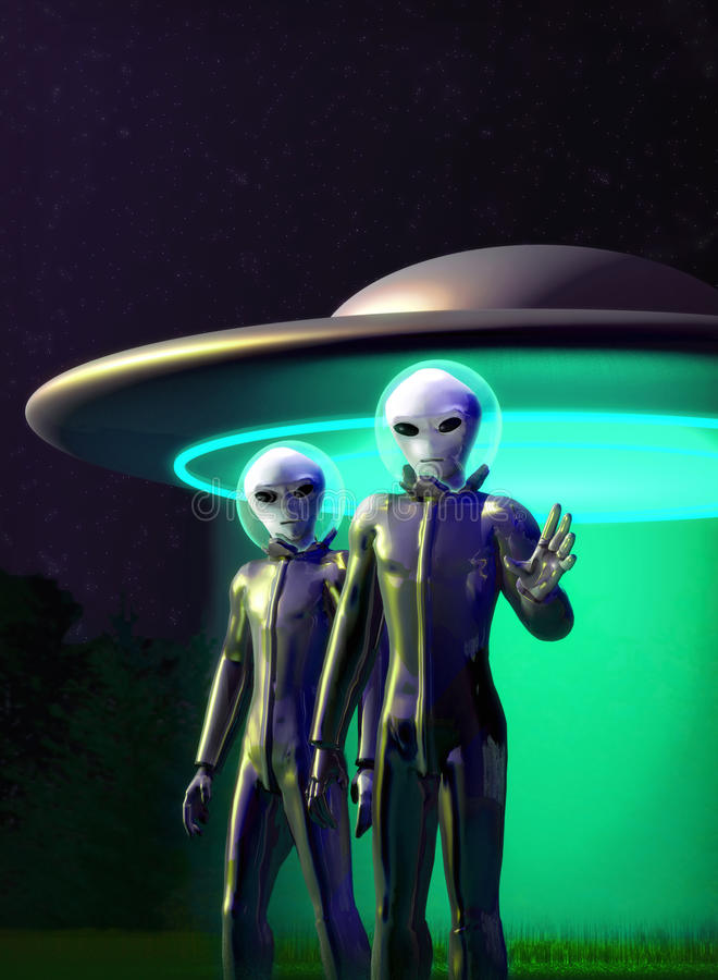 Aliens and flying disk vector illustration