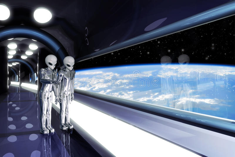 Aliens looking down royalty free illustration