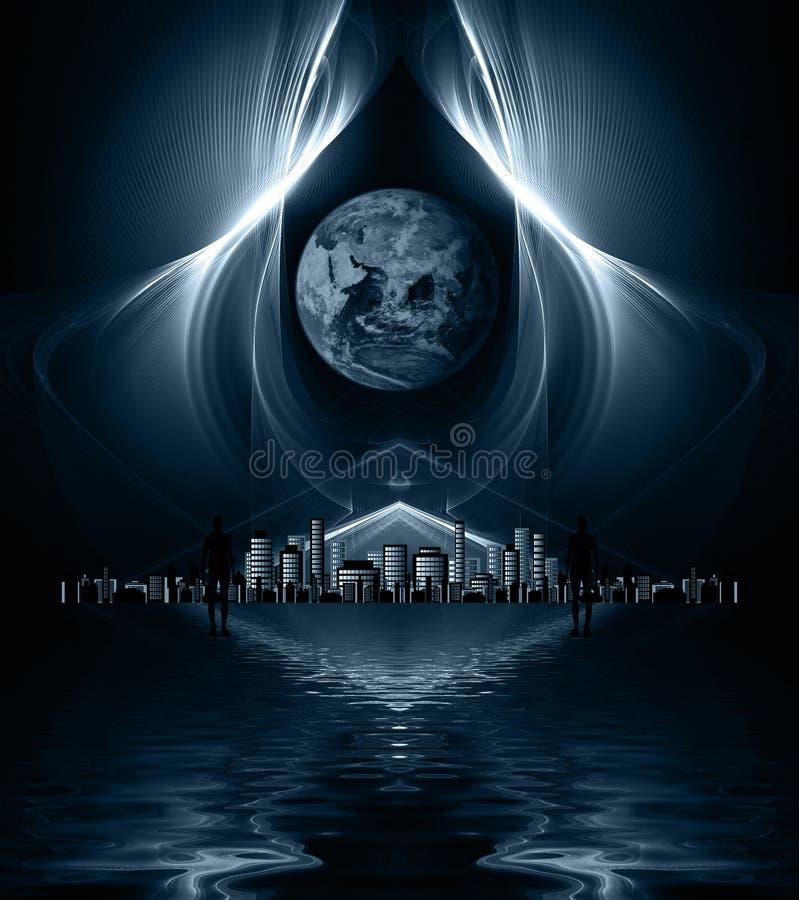 Aliens looking towards distant metropolis. Aliens looking over sea towards distant metropolis vector illustration