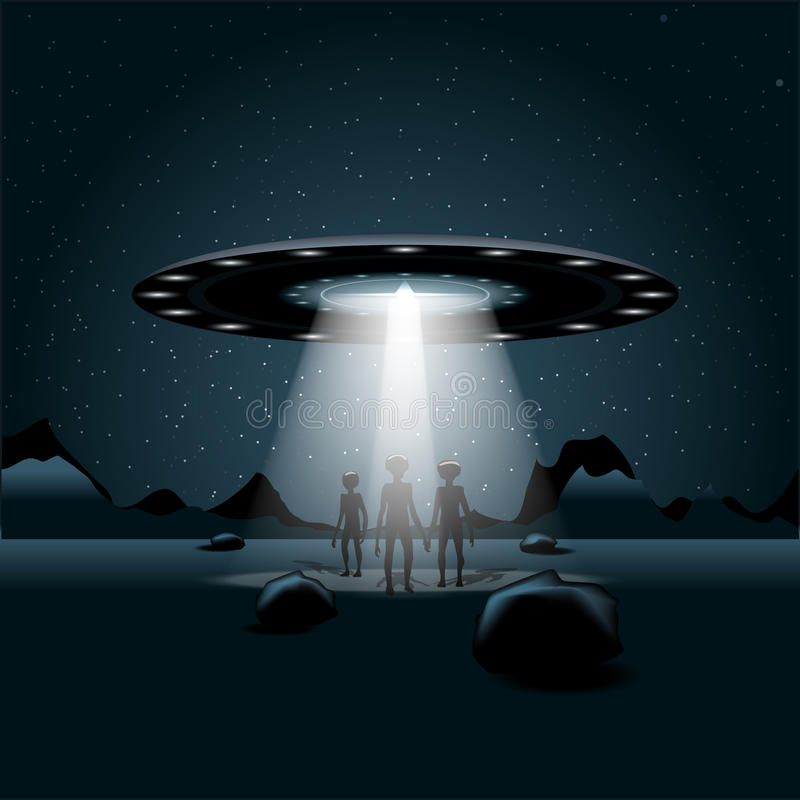 Aliens on a planet, a flying unidentified ship with light vector illustration