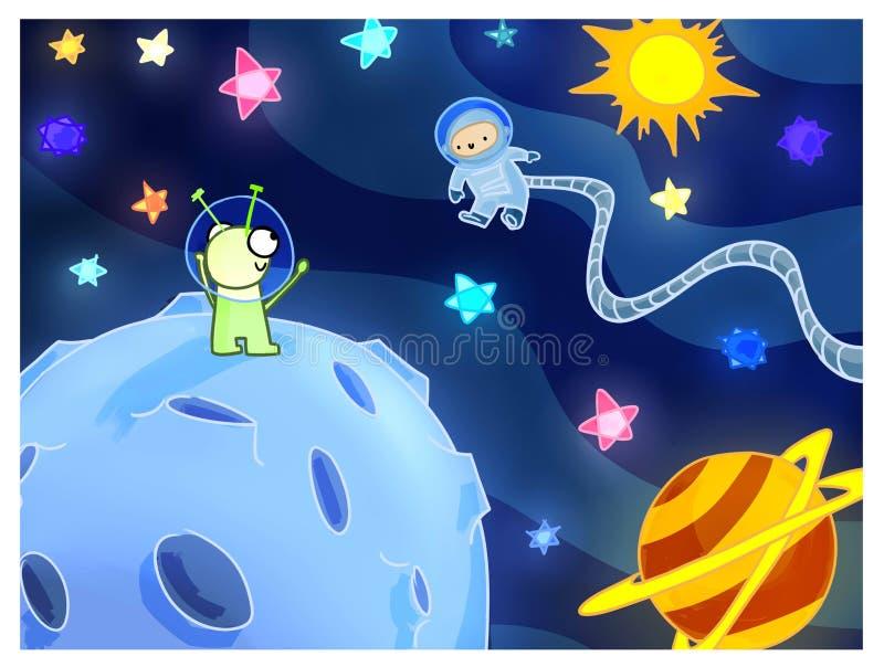 Aliens postcard illustration space stars sun planets stock illustration