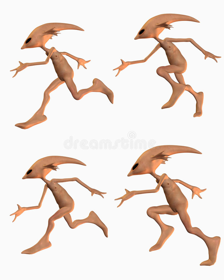 Download Aliens in running poses stock illustration. Illustration of colour - 13102592