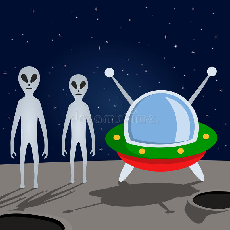 Aliens and Spacecraft on the Moon royalty free illustration