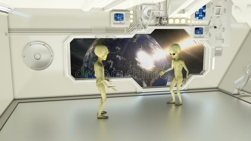 Aliens on a spaceship arguing on background exploding planet Earth. A futuristic concept of a UFO royalty free stock photos