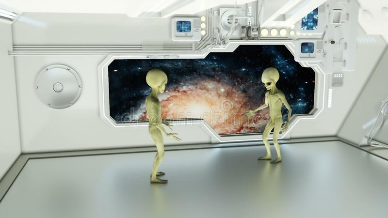 Aliens on a spaceship arguing on background galaxies. A futuristic concept of a UFO royalty free stock photos