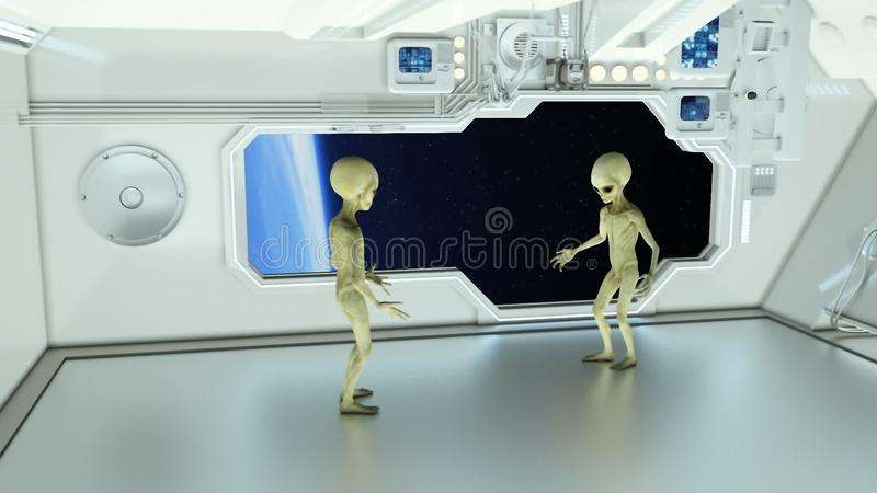 Aliens on a spaceship arguing on background planet Earth. A futuristic concept of a UFO stock photography