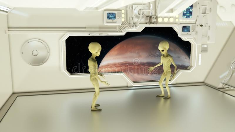 Aliens on a spaceship arguing on background planet Jupiter. A futuristic concept of a UFO stock photos