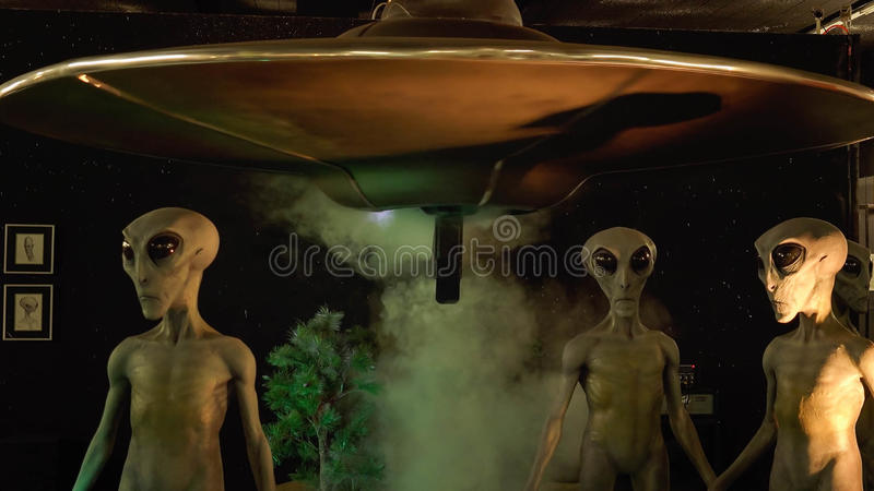 Aliens and Spaceship at the International UFO Museum and Research Center royalty free stock images