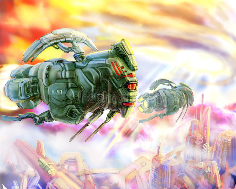 Aliens spaceships like a locust. Science fiction illustration. vector illustration