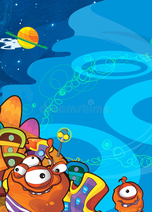 Download The Aliens Subject - Ufo - Star - Kindergarten - Menu - Screen - Space For Text - Happy And Funny Mood - Illustration For The Chil Stock Illustration - Image: 32416633