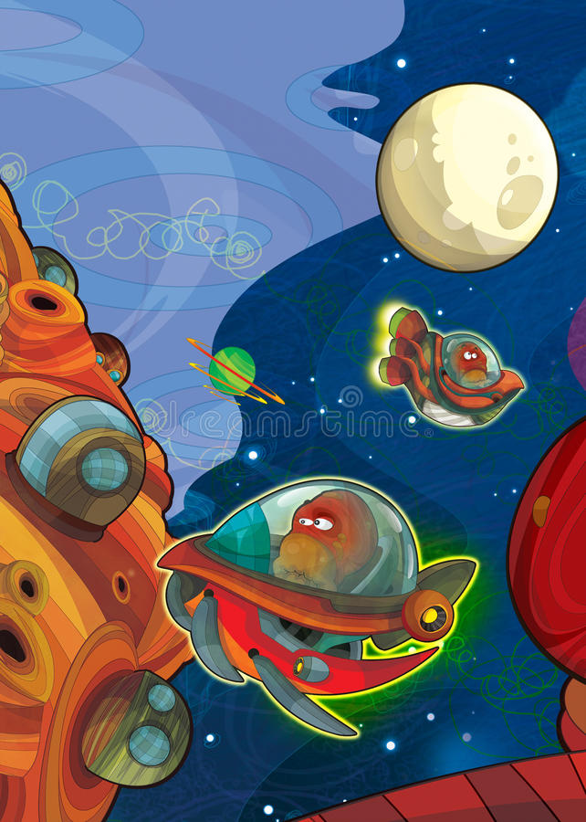 The aliens subject - ufo - star - kindergarten - menu - screen - space for text - happy and funny mood - illustration for the chil