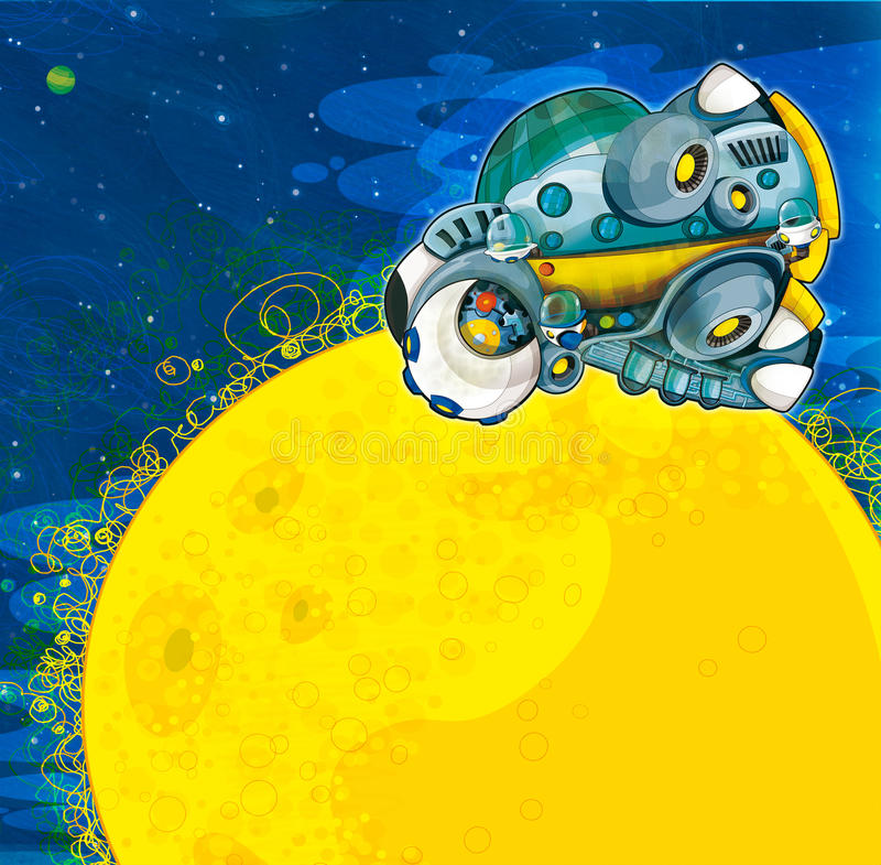 The Aliens Subject - Ufo - Star - Kindergarten - Menu - Screen - Space For Text - Happy And Funny Mood - Illustration For The Chil Stock Images