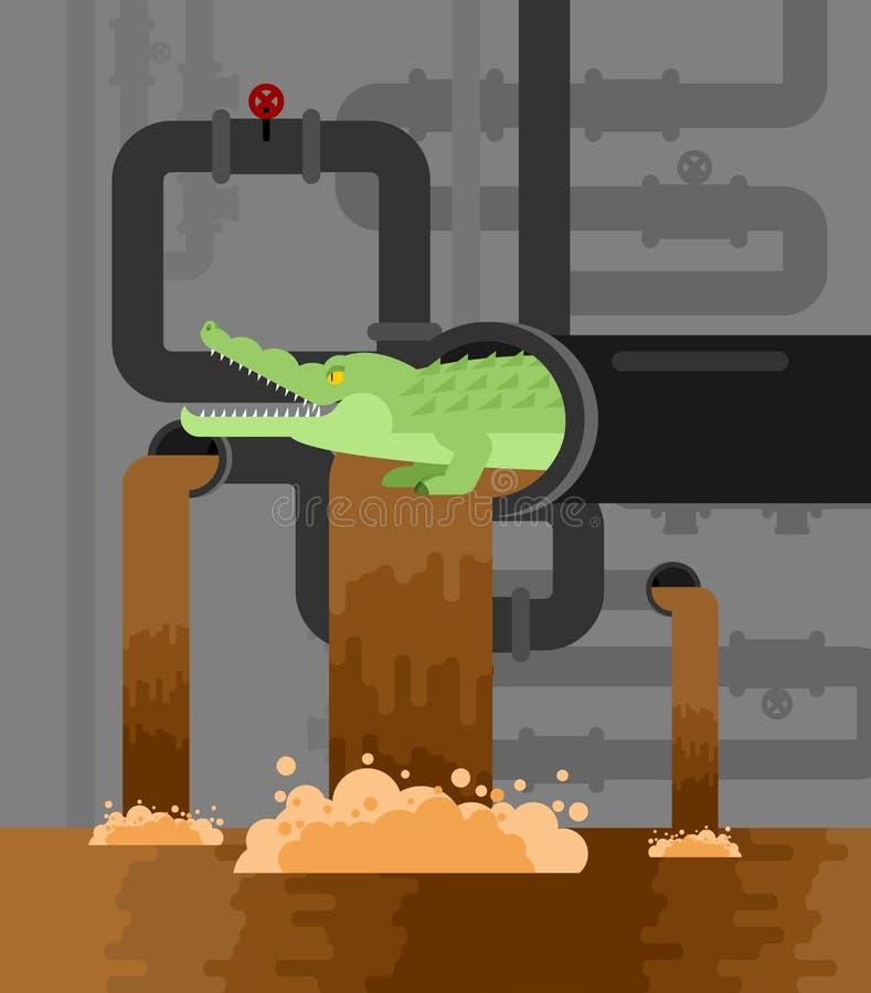 Aligator kanalizacja Krokodyl w kanale ściekowym drapieżnika zwierzę Miasto le royalty ilustracja