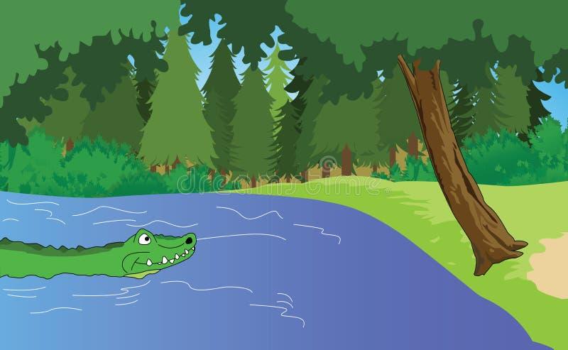 Download Aligator w bagnach ilustracja wektor. Ilustracja złożonej z zęby - 28970588