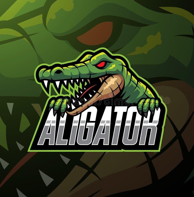 Aligatora sporta maskotki logo projekt ilustracja wektor