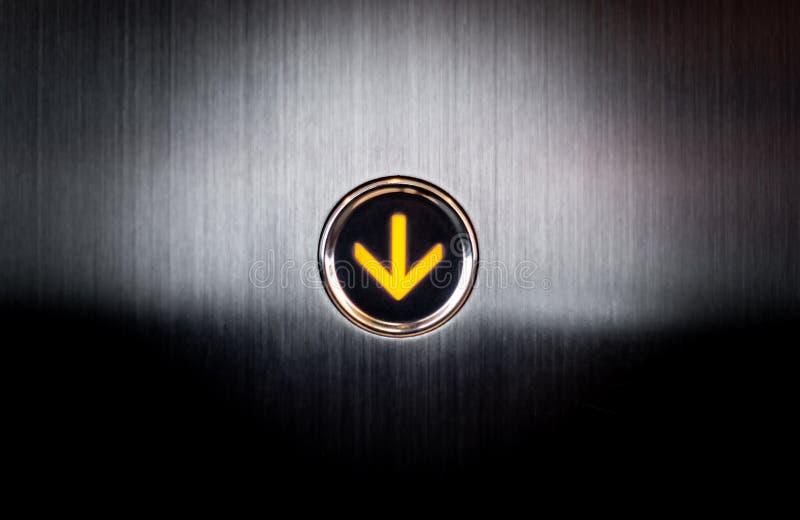 Aligere la subida abajo del botón para Elevetor foto de archivo libre de regalías