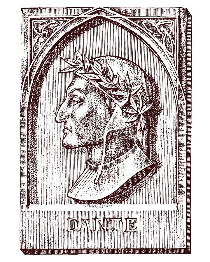 alighieri喜剧dante神的duome佛罗伦萨 建筑学、设计在大厦纹身花刺的或T恤杉设计的元素 科学的标志 向量例证
