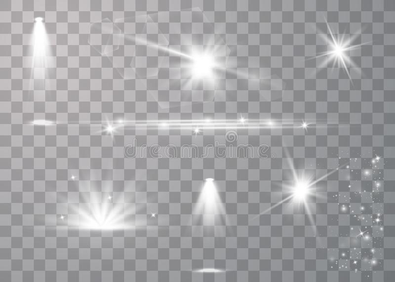 Realistic lens flares set royalty free illustration