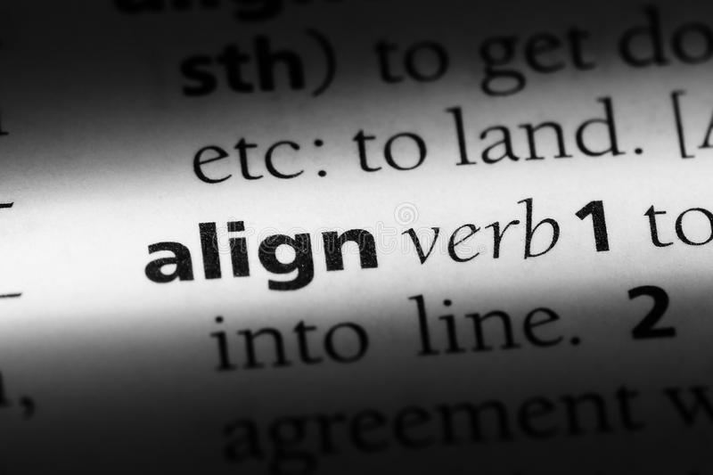 Align. Word in a dictionary.  concept royalty free stock photo