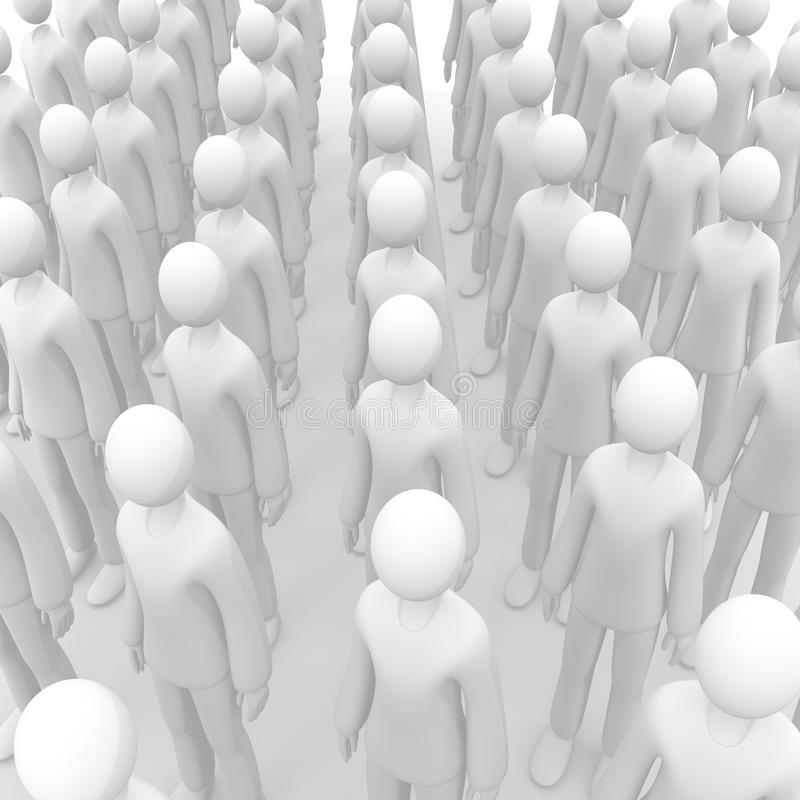 Aligned crowd. Full 3d anonymous aligned crowd vector illustration