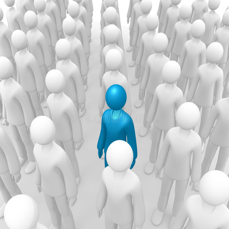 Aligned crowd 2. Full 3d anonymous aligned crowd stock illustration