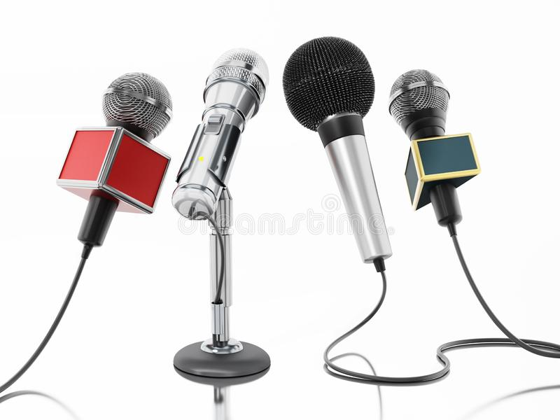 Aligned news microphones isolated on white background. 3D illustration.  vector illustration
