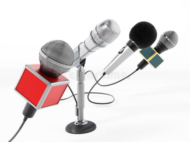 Aligned news microphones isolated on white background. 3D illustration.  royalty free illustration