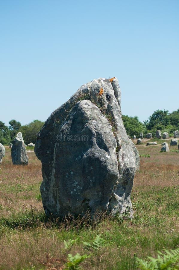 alignement célèbre de mégalithe en Carnac Brittany France images libres de droits